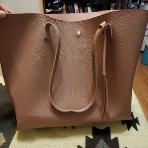 Women's Soft Faux Leather Tote Shoulder Bag
